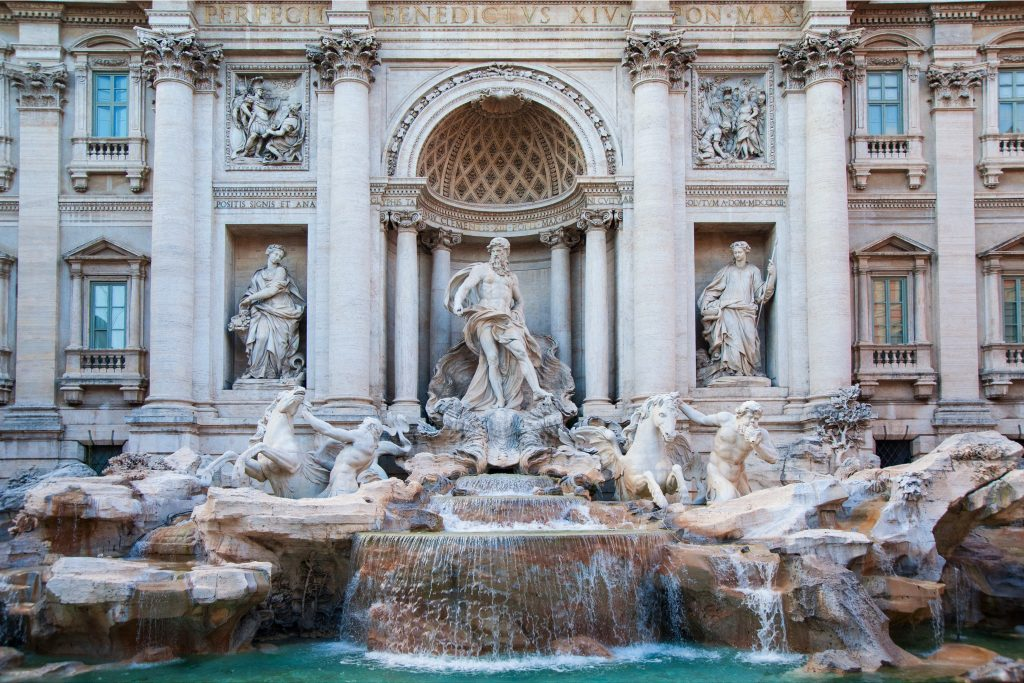 The spectacular Trevi Fountain, the largest and most famous fountain in Rome